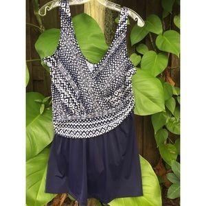 Maxine Of Hollywood Dark Navy Aztec Swim Dress